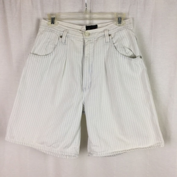 47e8e0b4aa Vintage Shorts | High Waist Mom White Stripe Jean | Poshmark